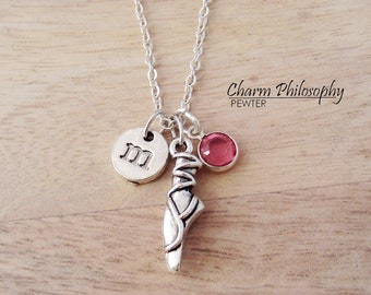 Ballet Slipper Silver Necklace - Ballerina Jewelry -  Dance Jewelry - Monogram Personalized Initial and Birthstone