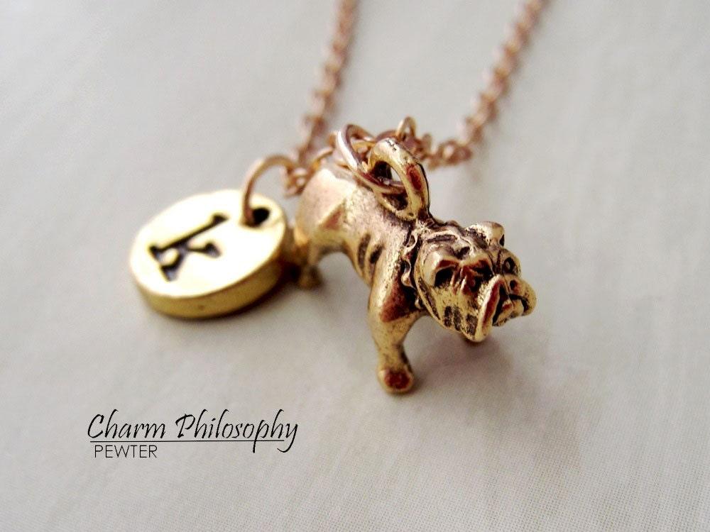 gold english bulldog necklace bulldog charm monogram