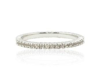 White Sapphire Ring - 25% off - OR BEST OFFER - 14k White Gold Prong Set White Sapphire Band - Diamond Alternative - LS2505-1