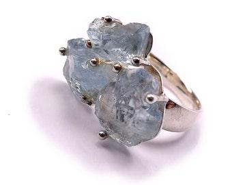 Natural Aquamarine Silver Ring s8.5