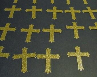 Glitter Cross Die Cuts - Gold Glitter -  Wedding - Baptism - Shower - Cards - Scrapbook - 1st Communion - Cupcake Toppers