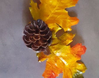 Fall  Pinecone and Leaves Hair Clip