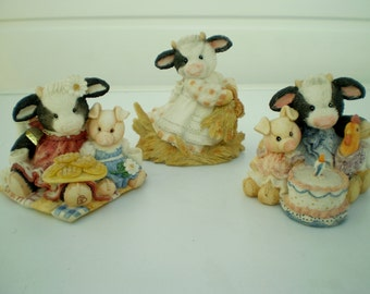 Enesco Resin Figures - Mary's Moo Moos - Designed by Mary Rhyner - Three Figures - 1993 - Cows - Animals