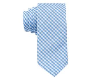Blue Gingham Ties.Blue Skinny Ties.Blue Cotton Ties.Mens Neckties.Modern Style