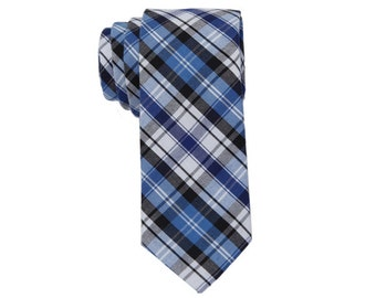 Plaid Ties with Blue.Grey White Color. Plaid Cotton Ties. Ties for Men.Causal Ties.
