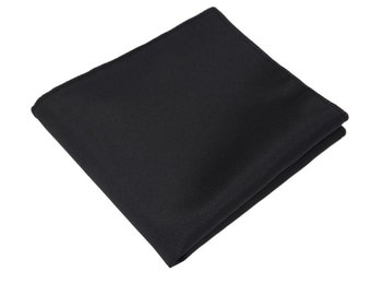 Ultimate Black Pocket Square.Silk Pocket Square.Black Handkerchief.