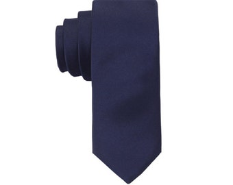 Dark Blue Ties. Solid Blue Ties. Wedding Ties.Silk Skinny Ties. Mens Necktie.