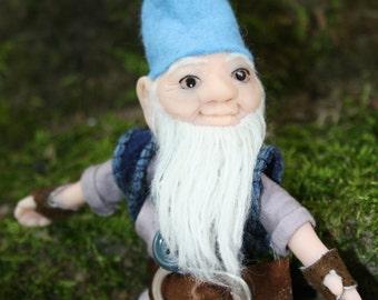 Cotton and polymer gnome doll with blue hat - dwarf elf leprechaun