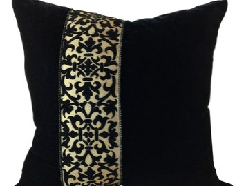 Black and Tan Velvet Pillow Cover, Pillow with Paisley, Velvet Pillow Cover, Throw Pillow, 16x16, 18 x 18, 20 x 20