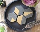 Metallic Gold & Black Stone Hexagon Coasters  (Set of 6)