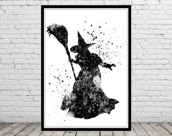 The Wizard of Oz inspired, Wicked Witch, Poster,Watercolor Print, Home Decor,Halloween, Kids Room Decor,  Poster (384bb)