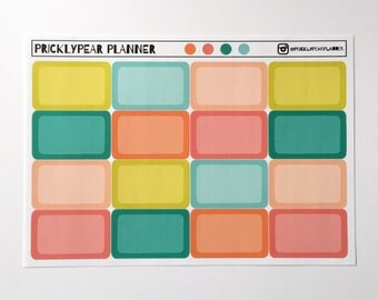 """Half Box Stickers for your Erin Condren Planner, FiloFax or PlumPlanner, 16 Matte stickers in the """"Fruit Punch"""" color collection"""