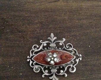 Rhinestone filigree brooch