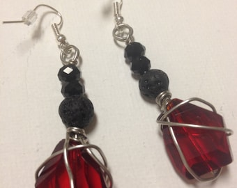 Wire Wrapped Ruby Crystal Glass Bead Earring
