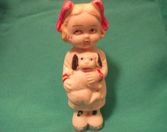 Vintage Bisque Doll Holding Puppy