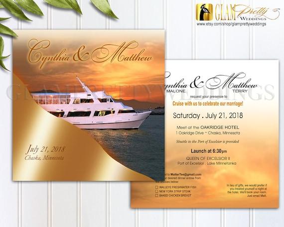 Sunrise Wedding Invitations: Yacht Cruise Wedding Invitation Ocean Sunset Sunrise Summer