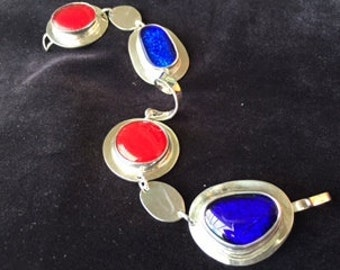Red and blue fused glass sterling silver bracelet