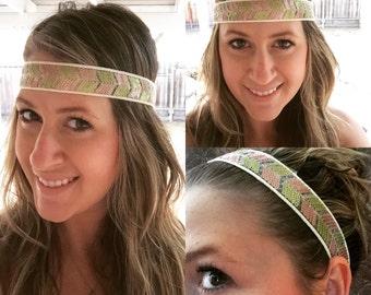 Boho headband, adult headband, Copper and Green Headband, elastic