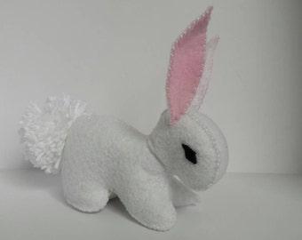 Easter Bunny White Stuffed Plush, Handmade Gift, Felt Rabbit, Easter basket, Woodland, Baby Shower Gift, White Rabbit,