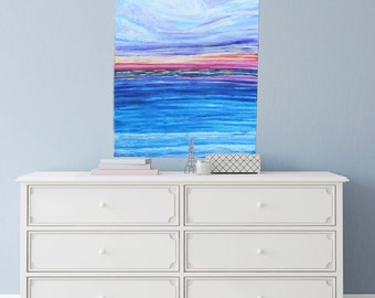 Impressionist Acrylic Painting.  Ocean and Sky, Pastel Colors: Blue, Pink, Yellow, and Purple.