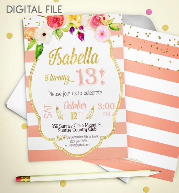 Geburtstag Einladung Teenager Geburtstag Einladung Rosa Gold, Einladungs
