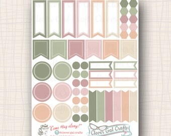 Functional Planner Stickers   Sensible Shapes Sampler   Rosie Palette   54 Stickers Total   #SS01ROSIE