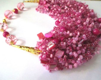 Pink airy beaded necklace – pink seed bead necklace with mother of pearl – air multi strand pink beaded necklace