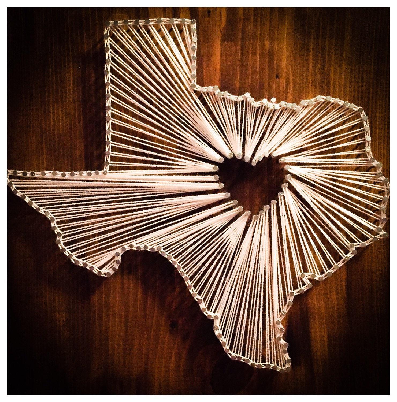 Nail And String Art: Texas Nail String Art Decor