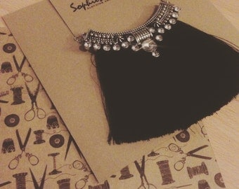 Handmade black and silver fringe chain necklace