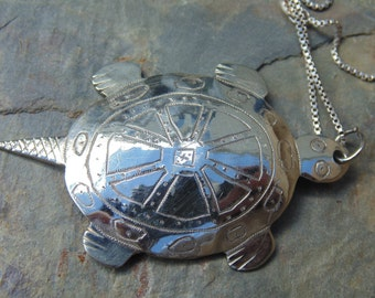 Boho ~ Silver Turtle Pendant on Sterling Chain