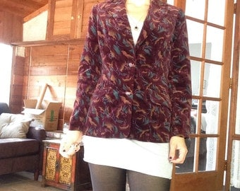 80s Burgundy Velvet Jacket with Abstract Print