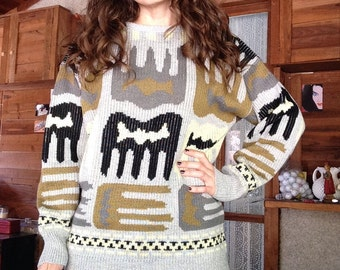 80s Gray Grey Abstract Crewneck Sweater