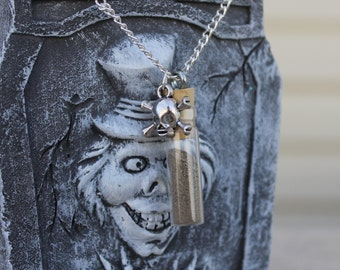 """Graveyard Dirt 24"""" Necklace w/Skull Charm, Halloween Gift, Scary Halloween, Holiday Gift, Spooky Gift, Halloween Spirits, Ghost Necklace"""