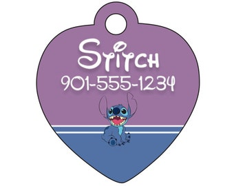 Disney Lilo and Stitch Pet ID Tag for Dogs & Cats Personalized w/ Your Pet's Name and Number