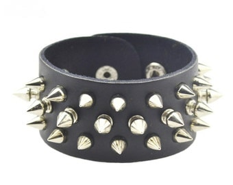 Handmade Fashion Studded Braided Leather Bracelet Black Punk Wide Cuff Bracelet Wristband for Men And Woman