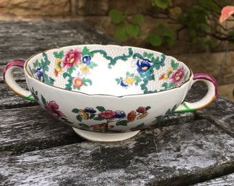 Vintage 1950's Soup Coups and Saucers by Royal Cauldon, England - Victoria Pattern - in Good Condition