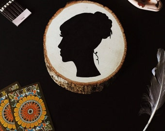 Victorian Lady Silhouette Cameo Portrait on Rustic Woodcut