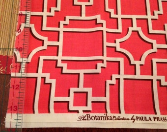 "PAULA PRASS Botanika Collection for Michael Miller: ""Lattice"" 1/2yd 44""wide Coral quilting cotton print OOP Gorgeous!!!"