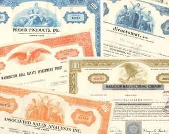 Basic starter set of 5 stock certificates