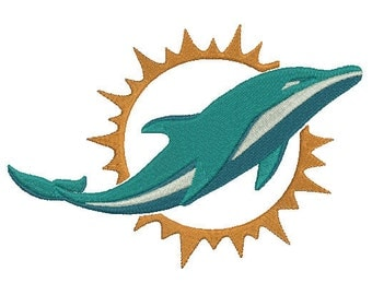 Miami Dolphins Embroidery Design, Football Team Logo Machine Embroidery Design, instant download machine embroidery pattern - 4 sizes