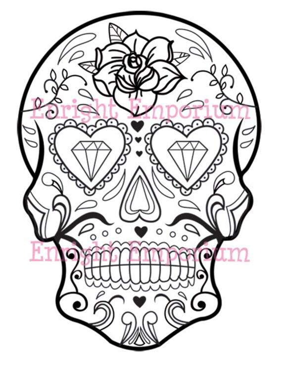 Sugar Skull Coloring Page Digital Download