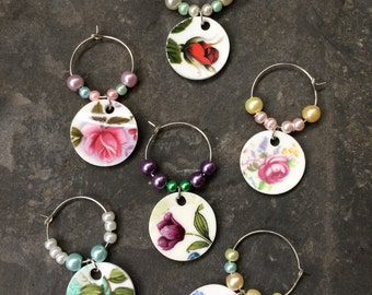 Upcycled vintage china wine glass charms (set of 6)