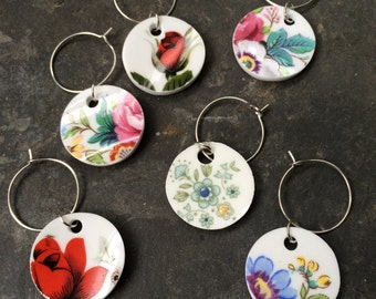 Set of 6 up-cycled china wine glass charms