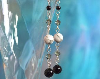 Howlite, Agate, Crystal & Sterling Silver Earrings