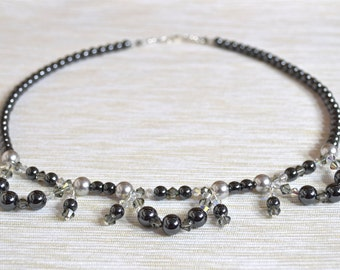 Hematite, Crystal, Crystal Pearl & Sterling Silver Necklace