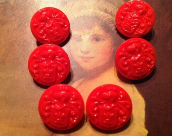 6 red / Galsknöpfe - coat of arms and Fleur de Lis - France - lot of glasbuttons