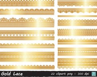 Gold Lace Clip Art images - Scrapbook Decoration - Gold Clip Art - instant download digital file - PNG