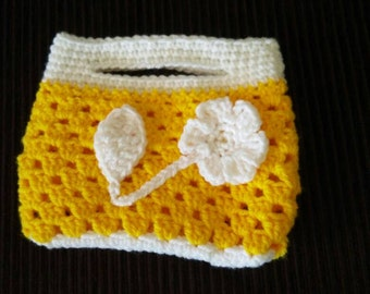 Yellow crocheted handbag - crochet bag - crocheted gift for a little lady - girl's handbag - crochet purse - girls handbag gift