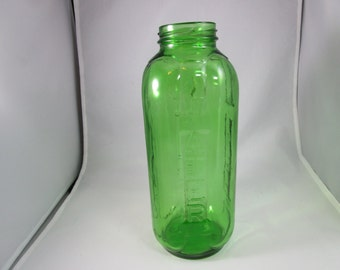 Green Glass Water/Juice Bottle, Buenos Aires, Cristalerias Cattarini, Green Bottle, Green Water Bottle, Green Juice Bottle, Vintage Bottle