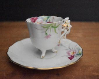 Hand Painted Sango China Cup and Saucer - Footed Demitasse Cup - Made in Occupied Japan